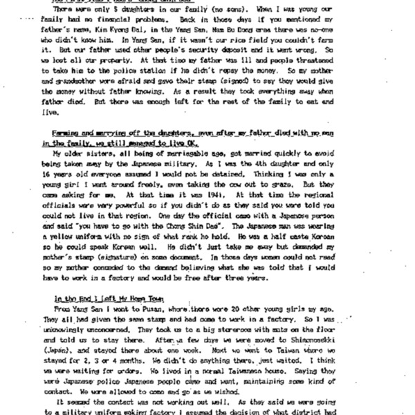Ms KimBok-Dong's Testimony